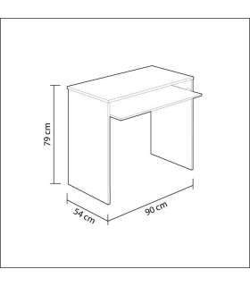 Habitdesign 002314M - Mesa de Ordenador con Bandeja Extraible, Medidas: 90 x 79 x 54 cm de Fondo  Rosa Nube  ...