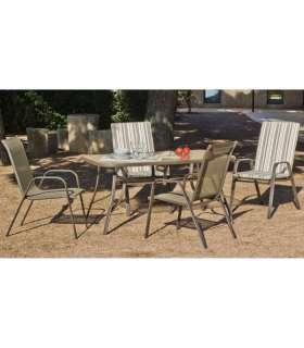 Conjunto mesa + 4 sillones acero Macao-150/4 en acabado color