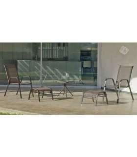 Conjunto de mesa + 2 sillones + 2 reposapies Macao-21 en