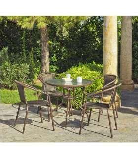 Mesa terraza jardín redonda acero/rattan Brasil-90.Hvea Mesas