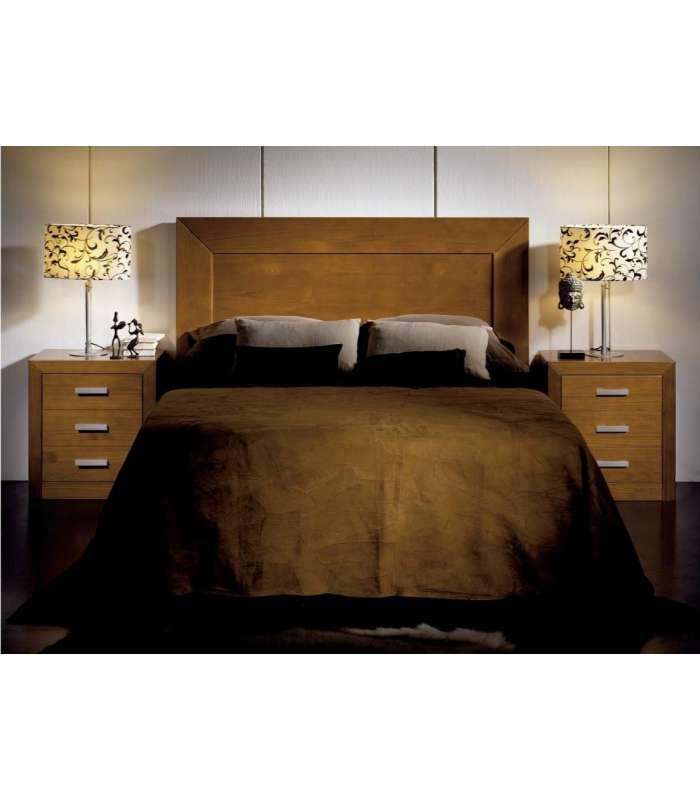 Conjunto dormitorio matrimonio cabecero 2 mesitas en madera for Cabecero madera